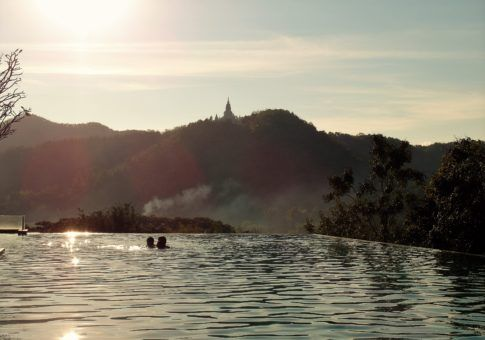 Sunset view of Wat Banpong from our infinity pool