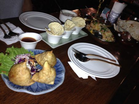 Samosas, Biryani and poppdoms from Accha Fushion India restaurant, Chiang mai