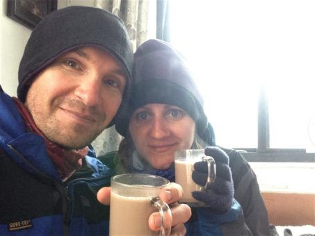 Us drinking hot chocolate in a tea house while hiking to Everest Base Camp