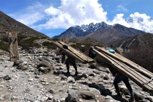 Porters carrying timber up the Everest Base Camp trail in Nepal