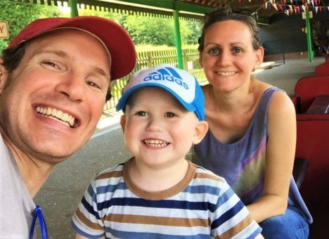 Us taking Alfie on a minature railway at Lakeside in Eastleigh