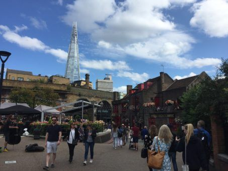 London Bridge pub with The Shard in the background