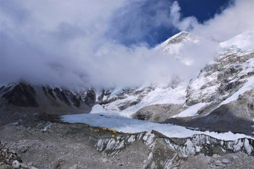 Everest Base Camp overlooked by the Himalayan mountains