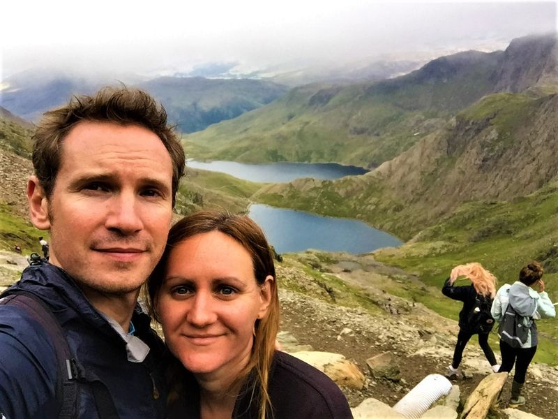 Andrew and I hiking Snowdon in Wales