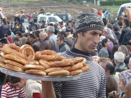 Turkish man carrying pastries in Turkey