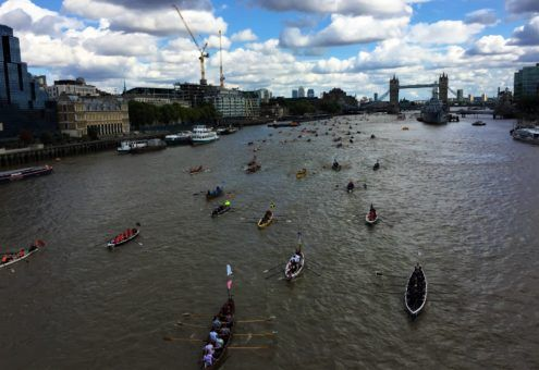 View of the 2017 Thames River Race from London Bridge