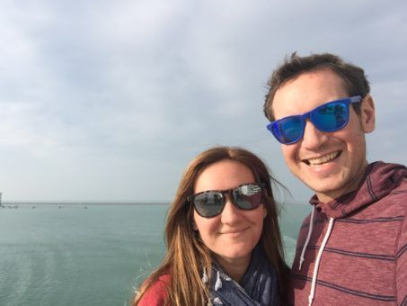 Andrew and I on the ferry at the start of our road trip to Portugal