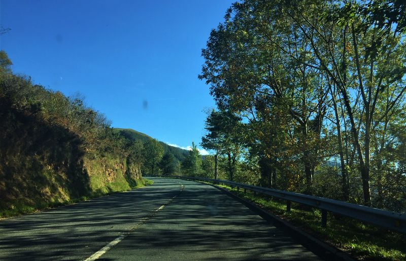 Driver's-eye view of the road in Portugal