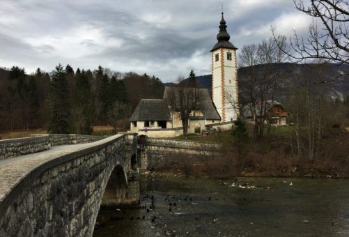 Church and Bridge at Lake Bohinj, Slovenia
