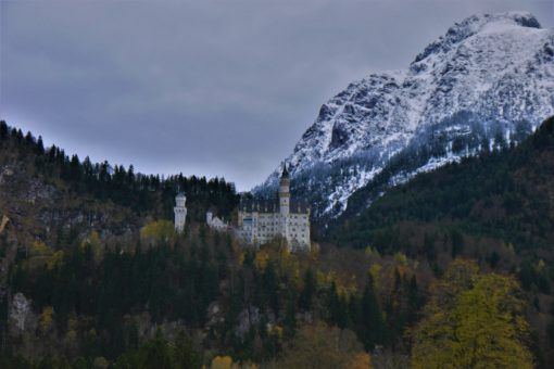 Neuschwanstein Castle, with the mighty Alps in the background