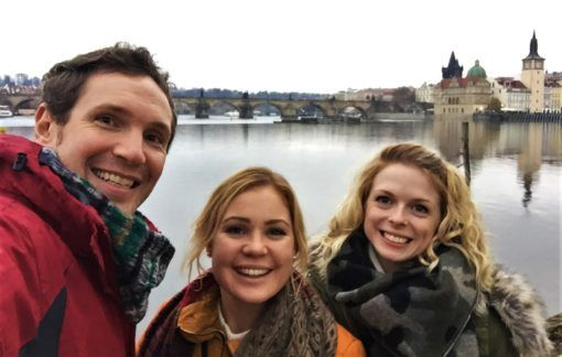 Andrew with his sister and her friend on Střelecký Island, Prague, Czech Republic