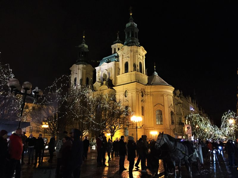 St Nicholas' Church in Prague's Old Town Square at Christmas