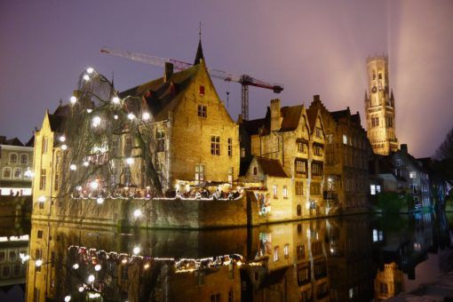 The beautiful Bruges waterways at night at Christmas