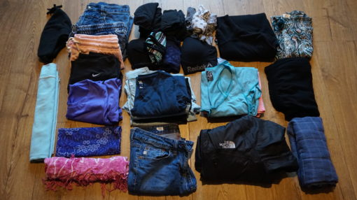 Amy's clothes for travelling in South America