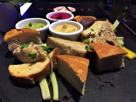 Hummus trio and bread platter at the Ventana Grand Cafe in Bournemouth