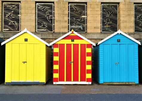 Colourful beach huts in Boscombe, Bournemouth
