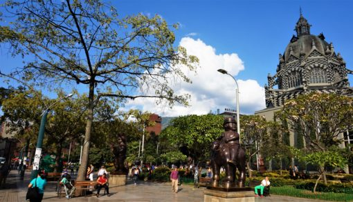 Parque Botero and the Palace of Culture in Medellin Colombia