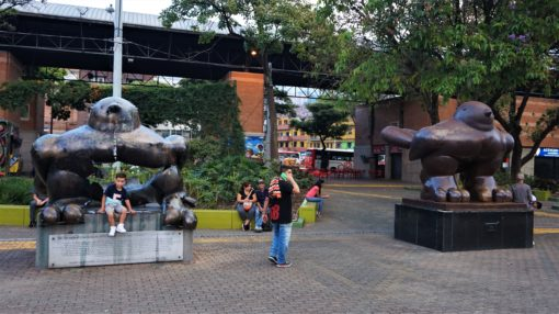 Los Pajaros de Paz, Birds of Peace, in San Antonio Square, Medellin