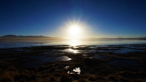 Sunrise over the thermal baths in the Siloli Desert, Bolivia