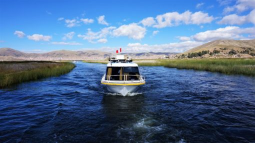 Our fast boat to the Uros floating islands from Puno, Peru