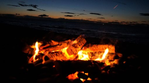 Campfire on the beach at Findhorn Bay, Scotland