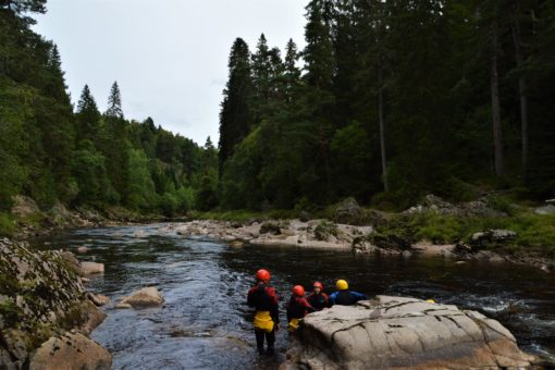 Swimming in the River Findhorn in the Scottish Highlands