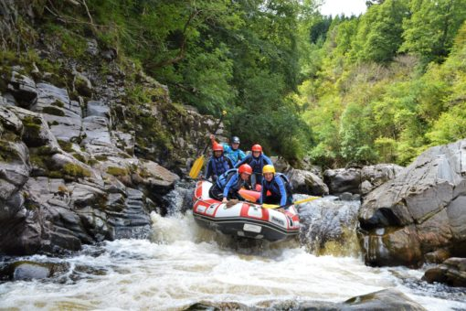 White water rafting on the River Findhorn in Scotland