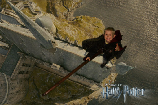 Alfie on the green screen broom experience at the Harry Potter Warner Bros. Studio Tour