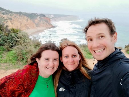 Andrew, Heather and I overlooking the sea on the west coast of the Algarve