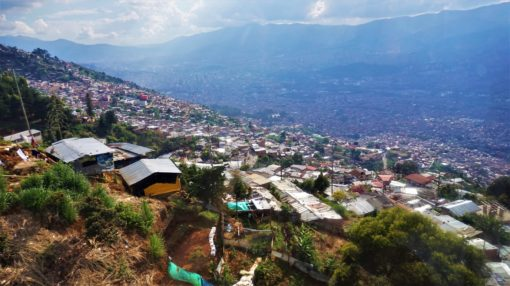 Aerial view over Medellin, Colombia