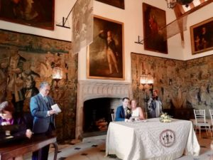 Andrew's sister's ceremony at Berkeley Castle