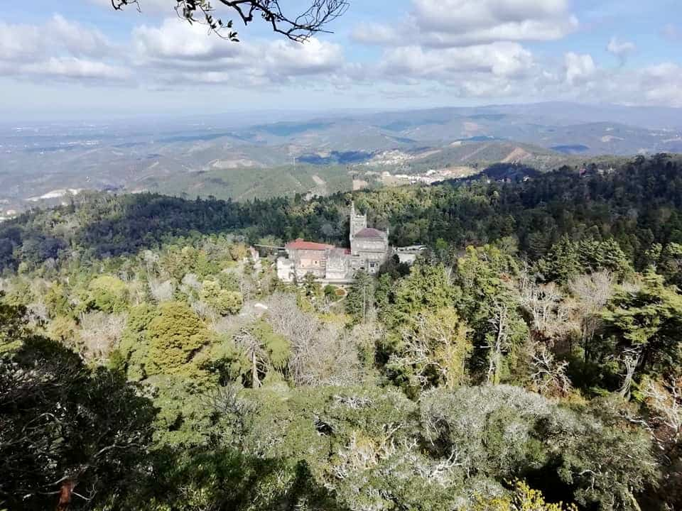 Bussaco Palace, seen from a viewpoint in the forest, Portugal