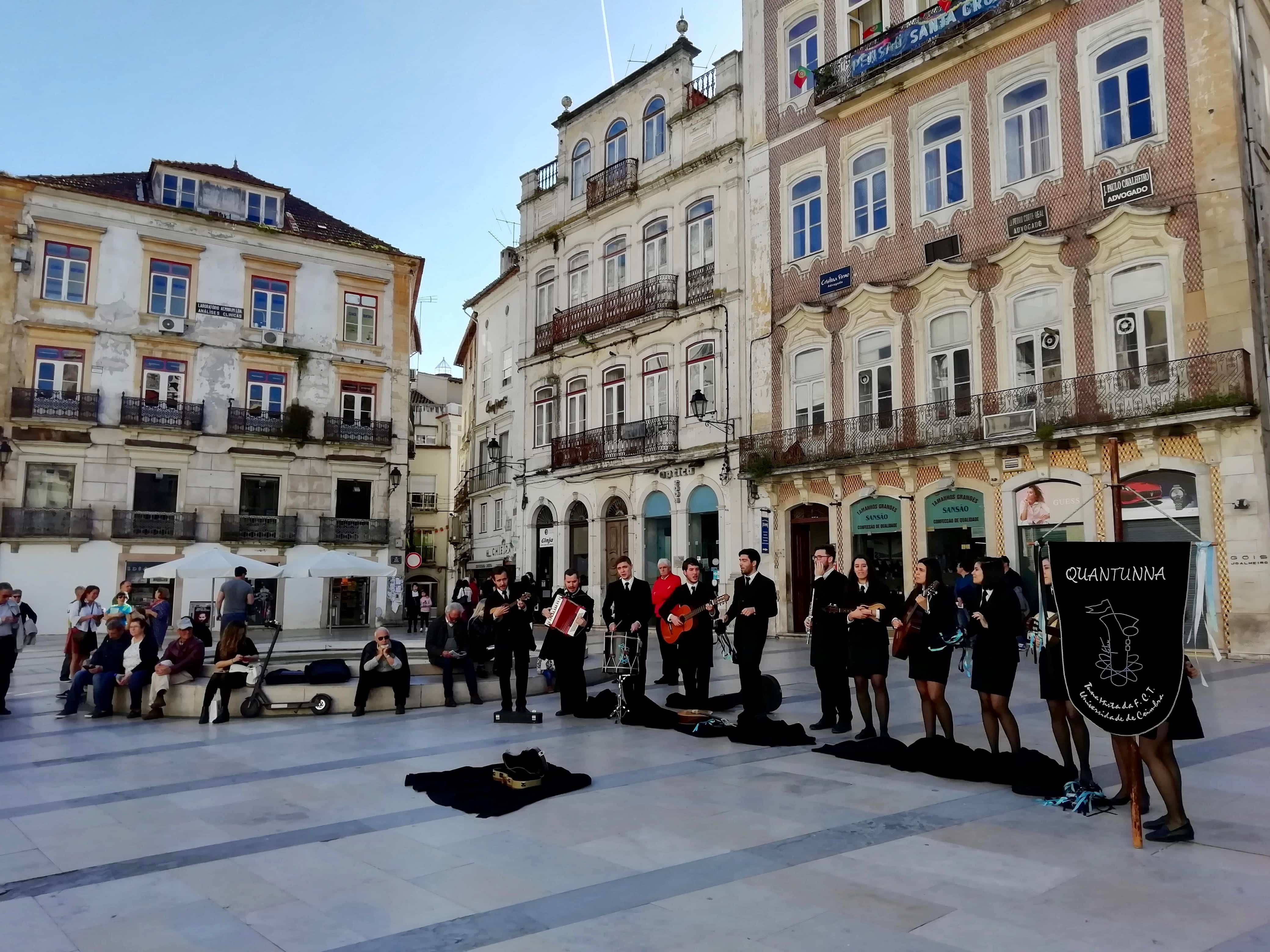 University students busking in Coimbra