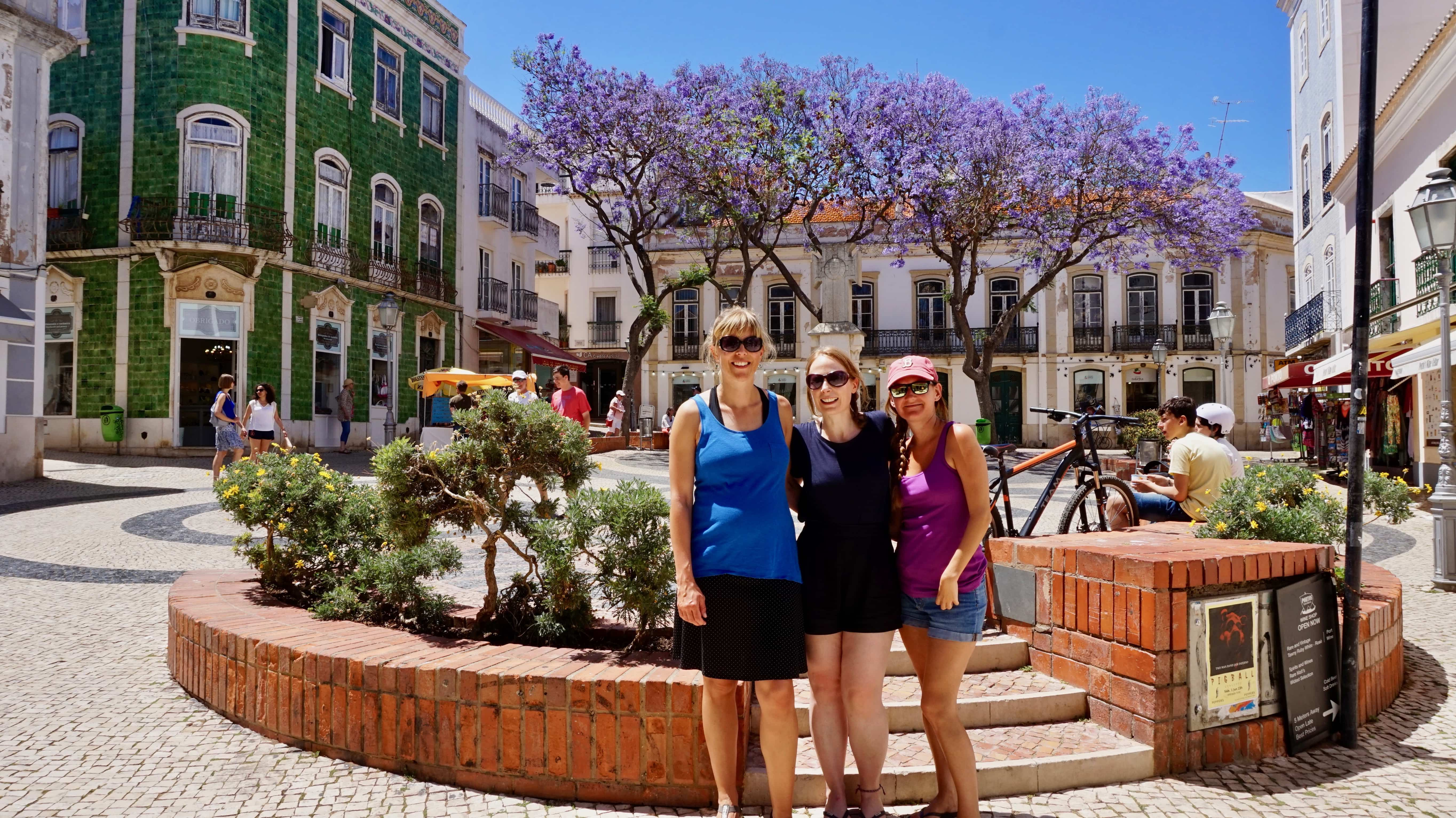 Amy with visiting friends on a trip to Lagos in Portugal