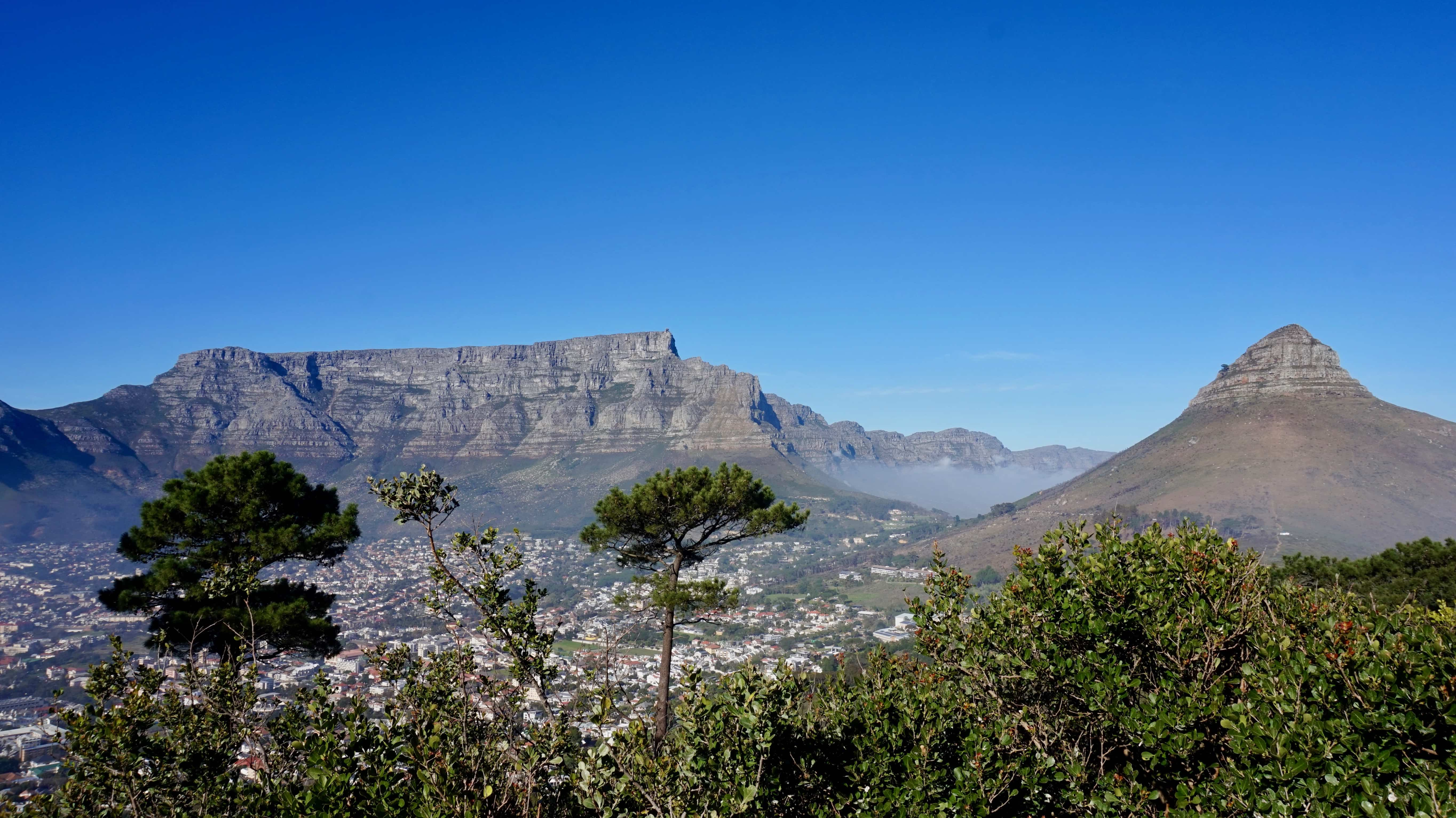 View of Table Mountain and Lion's Head from Signal Hill in Cape Town