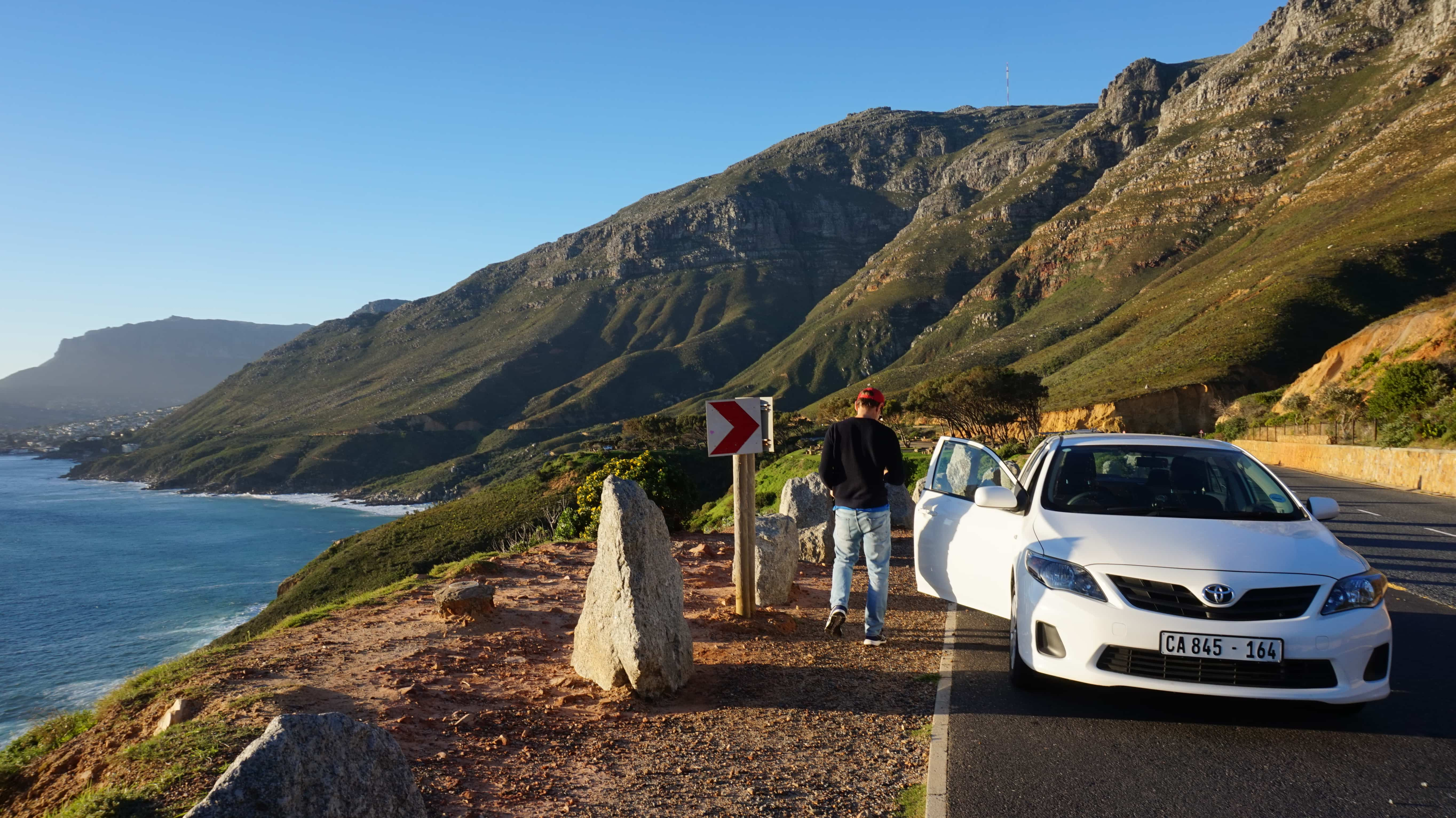 Our rental car in South Africa, driving along the coast near Cape Town