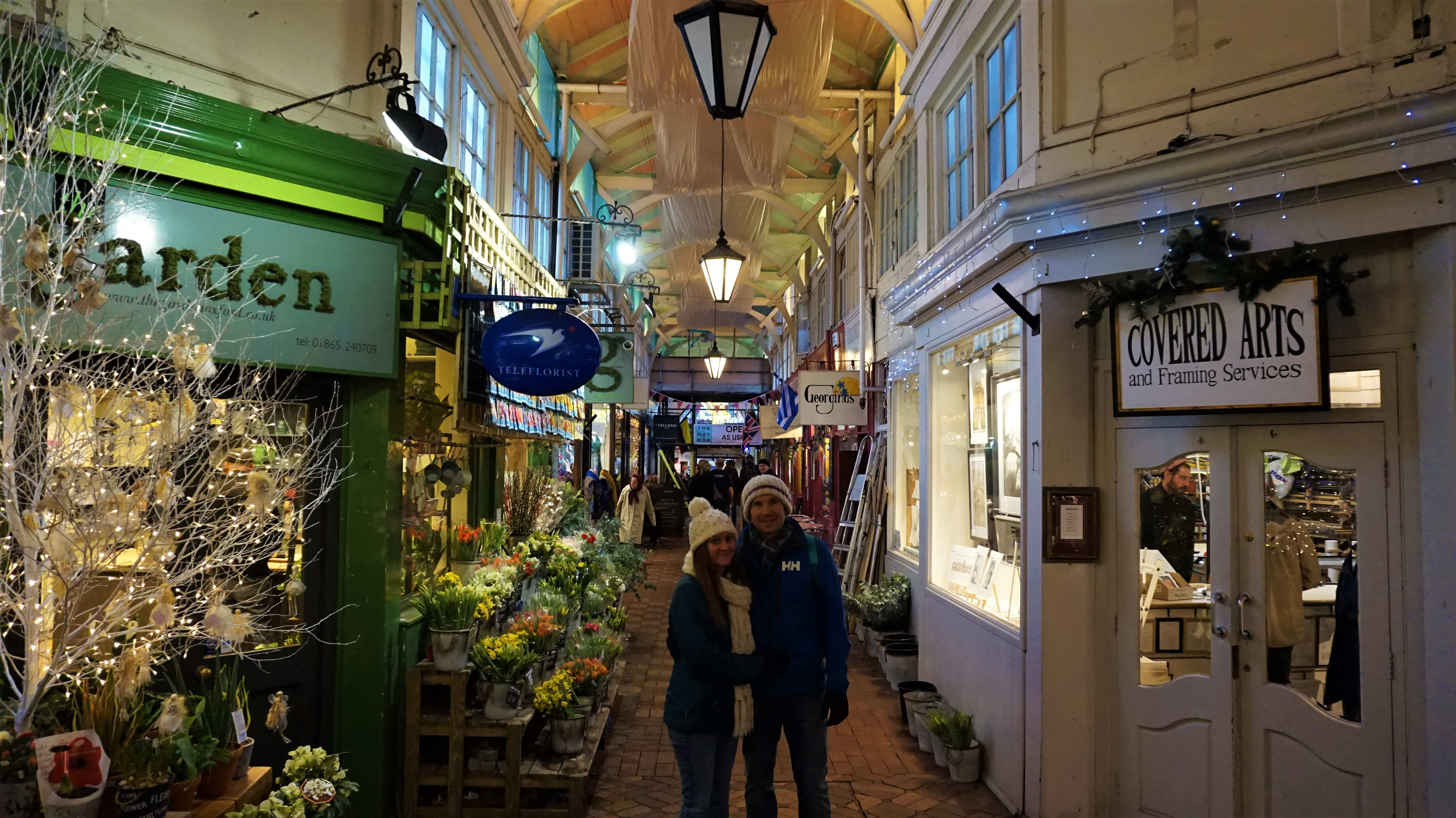 Us in the covered market on an Oxford City break