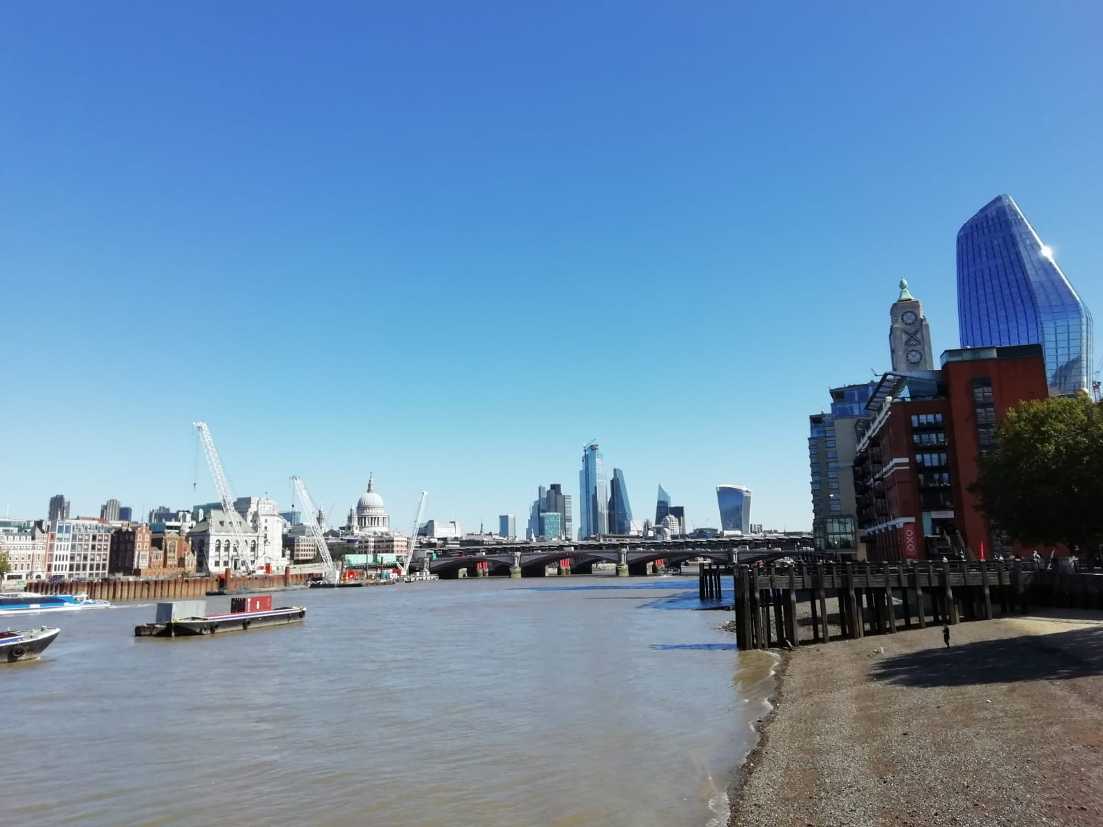 View along the Thames, London